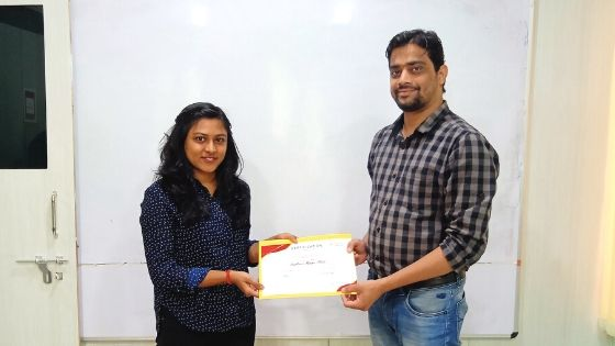 Congratulations Santosi for Completing Digital Marketing Course